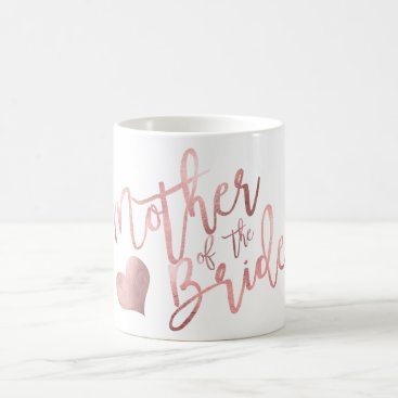 Coffee Themed PixDezines Mother of Bride/Faux Rose Gold Script Coffee Mug