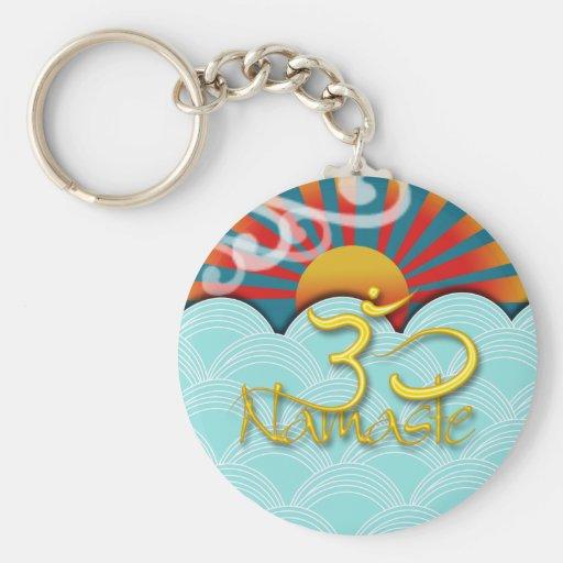 PixDezines namaste+wind+water+sunburst+om Keychains