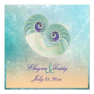 PixDezines nautilus/beach wedding Card