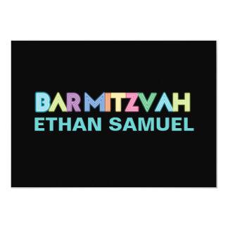 PixDezines neon bar mitzvah Card
