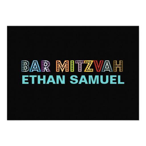 PixDezines neon bar mitzvah Custom Invitations