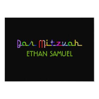PixDezines neon lights bar mitzvah Card