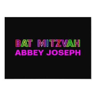PixDezines Neon Lights Bat Mitzvah 5x7 Paper Invitation Card