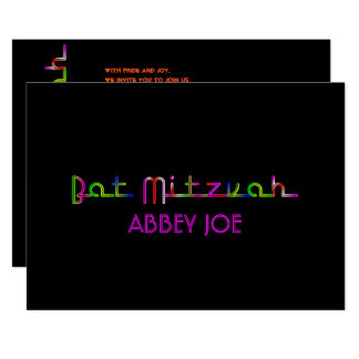 PixDezines neon lights bat mitzvah Card