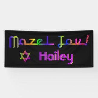 PixDezines Neon Lights Mazel Tov Banner 6'x2.5'