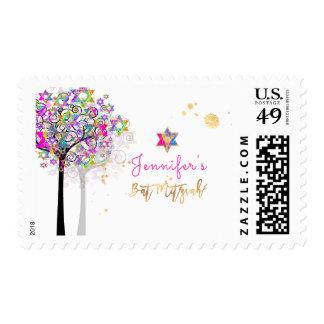 PixDezines Neon Pink Tree of Life Bat Mitzvah Postage