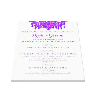 PixDezines neon purple chandelier wedding program Canvas Print