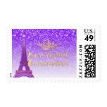 PixDezines Neon Purple/Gold/Eiffel/Quinceanera Postage Stamp
