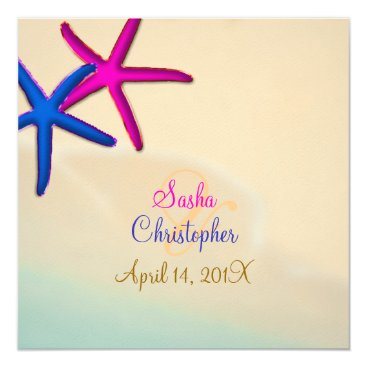 Beach Themed PixDezines Neon Starfish/Beach Wedding Card