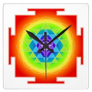 PixDezines Neon Style Sri Yantra Square Wall Clock