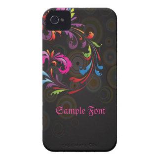 PixDezines Neon Swirls DIY text Case-Mate iPhone 4 Case
