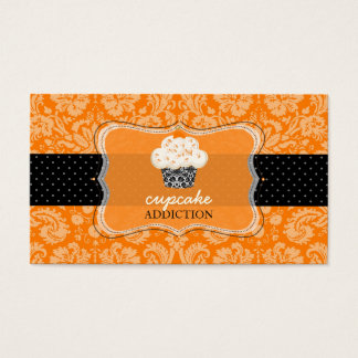 PixDezines orange chocolate cupcake/pâtisserie Business Card