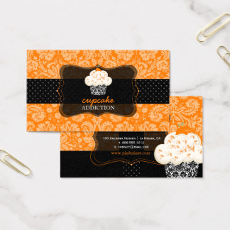 PixDezines orange chocolate cupcake/pâtisserie/diy Business Card
