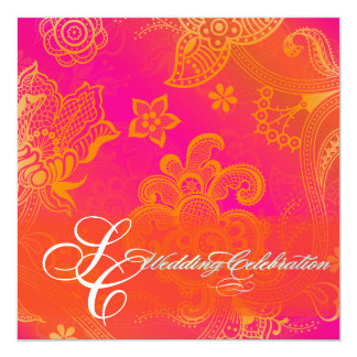 PixDezines orange floral lace Card