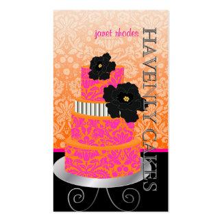 PixDezines Orange+Hot Pink damask cake/pâtisserie Business Card Templates