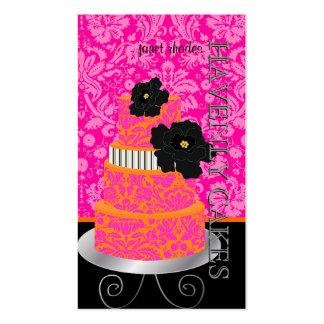 PixDezines Orange+Hot Pink damask cake/pâtisserie Business Cards