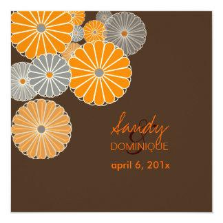 PixDezines Orange Kiku (chrysanthemum) brown Card