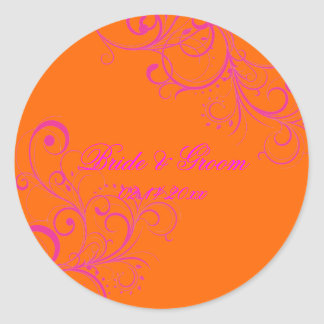PixDezines Orange + Pink Swirls wedding stickers