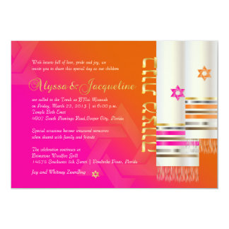 PixDezines Orange/Pink Tallits B'not mitzvah color Card
