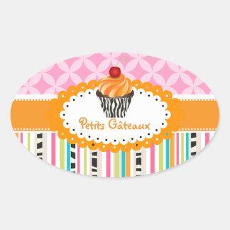 PixDezines orange swirls cupcake/DIY color Oval Sticker
