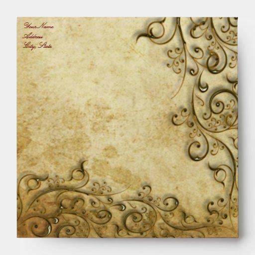 PixDezines Ornamental Black Gold Swirls Envelopes