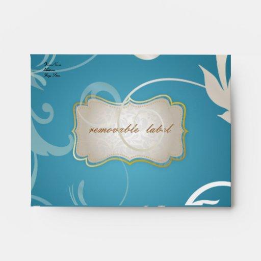 PixDezines Ornamental Leaves + Swirls, teal Envelopes