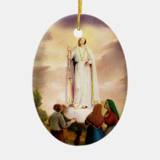 PixDezines Our Lady of Fatima, Text Customizable Ceramic Ornament