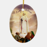 PixDezines Our Lady of Fatima, Text Customizable Christmas Ornament