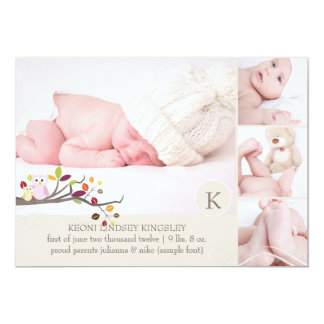 "PixDezines owl photo template birth announcement 5"" X 7"" Invitation Card"