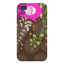 PixDezines Owl/pink/DIY background color iPhone 4/4S Case