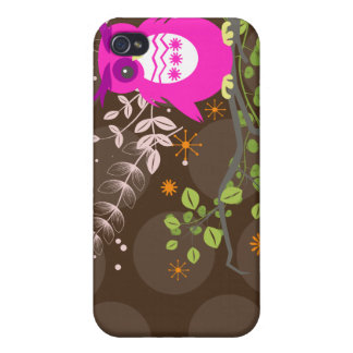 PixDezines Owl/pink/DIY background color iPhone 4/4S Cases
