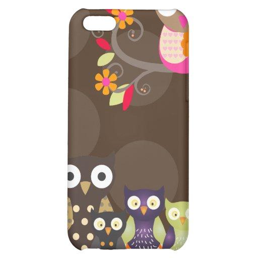 PixDezines Owl/pink+orange/DIY background color iPhone 5C Case