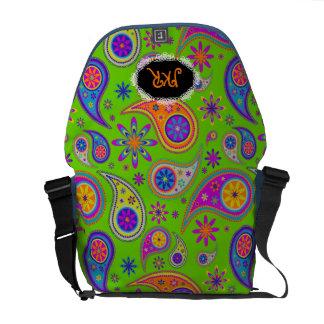 PixDezines Paisley retra, fondo de neon/DIY Bolsas Messenger