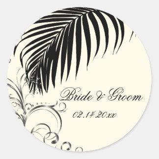 PixDezines palm frond wedding stickers/black+beige Classic Round Sticker