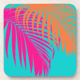 PixDezines palm fronds/DIY background color Beverage Coaster