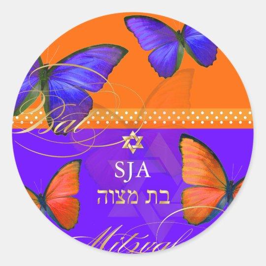 PixDezines Papillon, retro Bat Mitzvah Classic Round Sticker