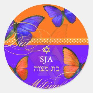 PixDezines Papillon retro Bat Mitzvah Round Sticker