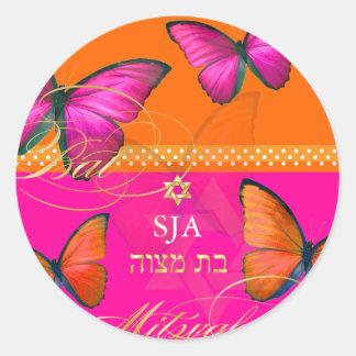 PixDezines Papillon retro Bat Mitzvah Sticker
