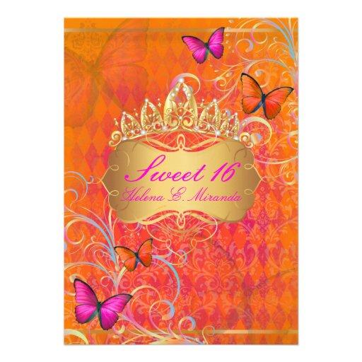 PixDezines Papillon Sweet 16/Rainbow Swirls Personalized Invitation