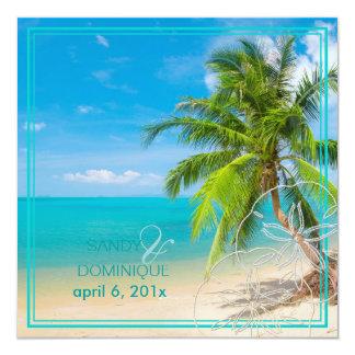 PixDezines Paradise/Tropical beach/palm trees 5.25x5.25 Square Paper Invitation Card