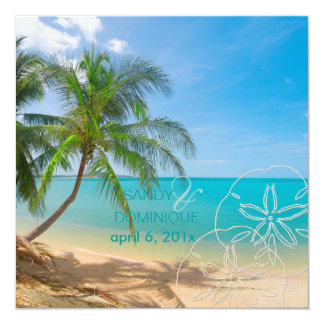 PixDezines Paradise/Tropical Island 5.25x5.25 Square Paper Invitation Card