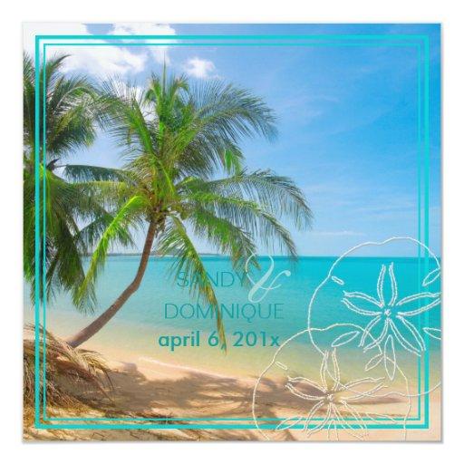 PixDezines Paradise/Tropical Island+sanddollar 5.25x5.25 Square Paper Invitation Card