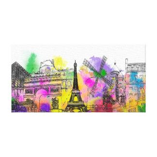 PixDezines paris color run, eiffel tower Canvas Print