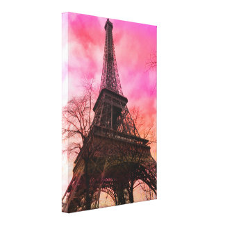 PixDezines París rosada, torre Eiffel Impresiones De Lienzo
