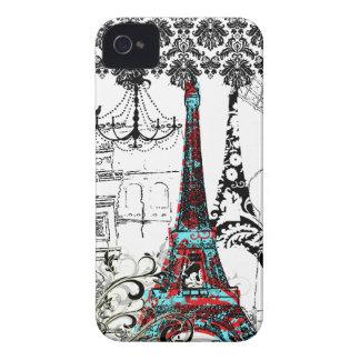 PixDezines Paris Sketch, coral damask/DIY color iPhone 4 Cover