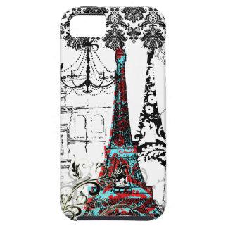 PixDezines Paris Sketch, coral damask/DIY color iPhone SE/5/5s Case
