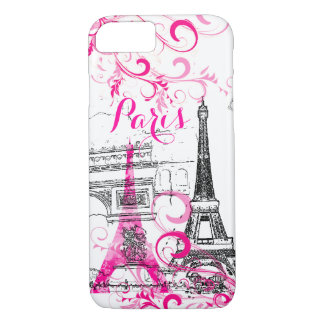 PixDezines Paris sketched/DIY background color iPhone 8/7 Case