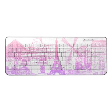 Beach Themed PixDezines paris sketched/DIY background color Wireless Keyboard