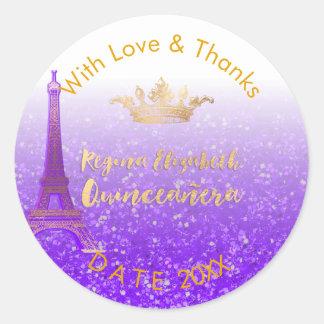 PixDezines Paris/Sweet 15/Gold Crown/DIY Thank You Classic Round Sticker