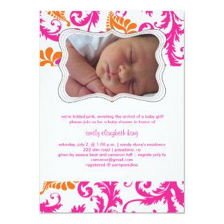 PixDezines pavo damask/birth announcement/shower 5x7 Paper Invitation Card